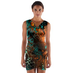 Awesome Fractal 35f Wrap Front Bodycon Dress