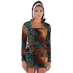 Awesome Fractal 35f Long Sleeve Hooded T Shirt