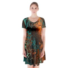 Awesome Fractal 35f Short Sleeve V Neck Flare Dress