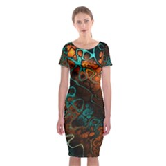 Awesome Fractal 35f Classic Short Sleeve Midi Dress