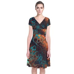 Awesome Fractal 35f Short Sleeve Front Wrap Dress