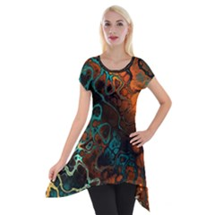 Awesome Fractal 35f Short Sleeve Side Drop Tunic