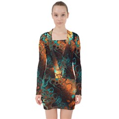 Awesome Fractal 35f V Neck Bodycon Long Sleeve Dress