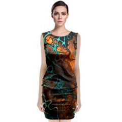 Awesome Fractal 35f Sleeveless Velvet Midi Dress