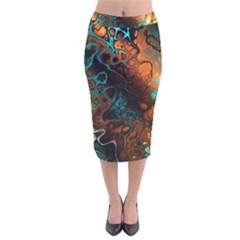 Awesome Fractal 35f Velvet Midi Pencil Skirt