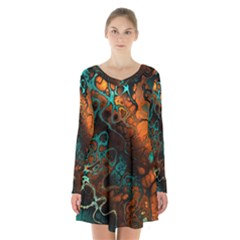 Awesome Fractal 35f Long Sleeve Velvet V Neck Dress