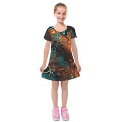 Awesome Fractal 35f Kids  Short Sleeve Velvet Dress