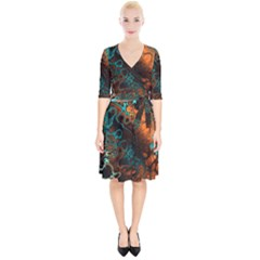Awesome Fractal 35f Wrap Up Cocktail Dress