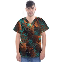 Awesome Fractal 35f Men s V Neck Scrub Top