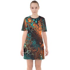 Awesome Fractal 35f Sixties Short Sleeve Mini Dress