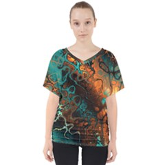Awesome Fractal 35f V Neck Dolman Drape Top