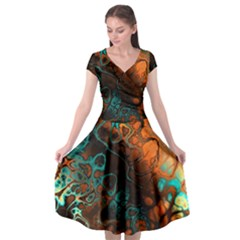 Awesome Fractal 35f Cap Sleeve Wrap Front Dress
