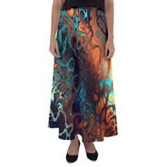 Awesome Fractal 35f Flared Maxi Skirt