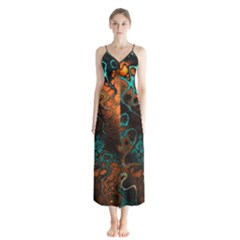 Awesome Fractal 35f Button Up Chiffon Maxi Dress