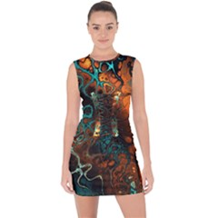 Awesome Fractal 35f Lace Up Front Bodycon Dress