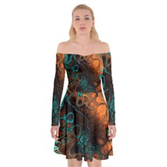 Awesome Fractal 35f Off Shoulder Skater Dress