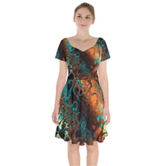 Awesome Fractal 35f Short Sleeve Bardot Dress