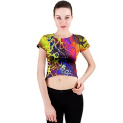Awesome Fractal 35c Crew Neck Crop Top