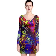 Awesome Fractal 35c Long Sleeve Bodycon Dress