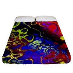 Awesome Fractal 35c Fitted Sheet (queen Size)