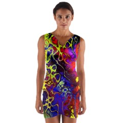 Awesome Fractal 35c Wrap Front Bodycon Dress