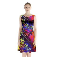 Awesome Fractal 35c Sleeveless Waist Tie Chiffon Dress
