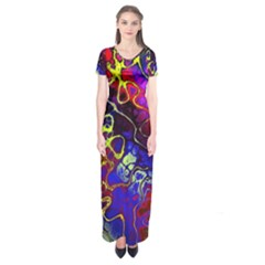 Awesome Fractal 35c Short Sleeve Maxi Dress
