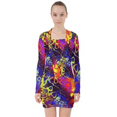 Awesome Fractal 35c V Neck Bodycon Long Sleeve Dress