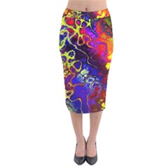 Awesome Fractal 35c Velvet Midi Pencil Skirt
