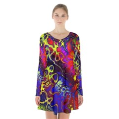 Awesome Fractal 35c Long Sleeve Velvet V Neck Dress
