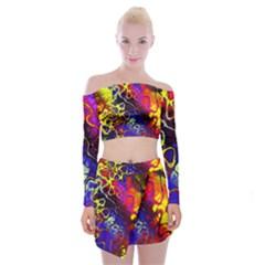 Awesome Fractal 35c Off Shoulder Top With Skirt Set