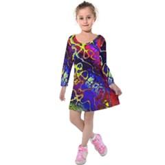 Awesome Fractal 35c Kids  Long Sleeve Velvet Dress