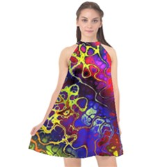 Awesome Fractal 35c Halter Neckline Chiffon Dress