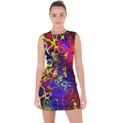 Awesome Fractal 35c Lace Up Front Bodycon Dress