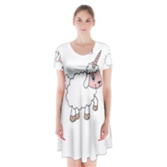 Unicorn Sheep Short Sleeve V Neck Flare Dress