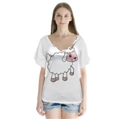 Unicorn Sheep V Neck Flutter Sleeve Top