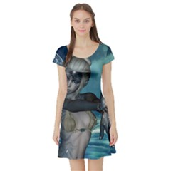 The Wonderful Water Fairy With Water Wings Short Sleeve Skater Dress