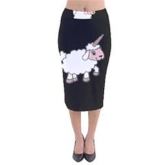 Unicorn Sheep Velvet Midi Pencil Skirt