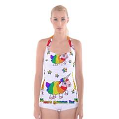 Unicorn Sheep Boyleg Halter Swimsuit