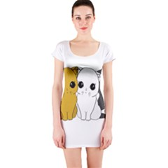 Cute Cats Short Sleeve Bodycon Dress