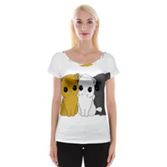 Cute Cats Cap Sleeve Tops