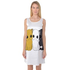 Cute Cats Sleeveless Satin Nightdress