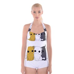 Cute Cats Boyleg Halter Swimsuit