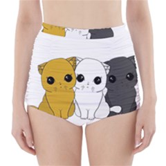 Cute Cats High Waisted Bikini Bottoms