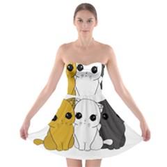 Cute Cats Strapless Bra Top Dress