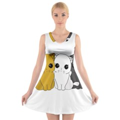 Cute Cats V Neck Sleeveless Skater Dress