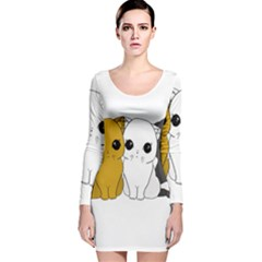 Cute Cats Long Sleeve Velvet Bodycon Dress