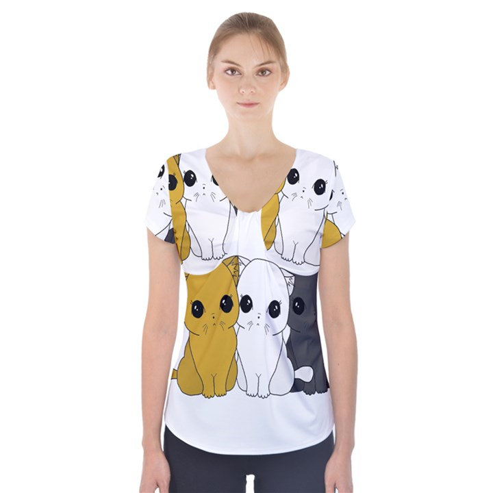 Cute cats Short Sleeve Front Detail Top