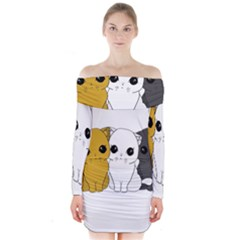 Cute Cats Long Sleeve Off Shoulder Dress