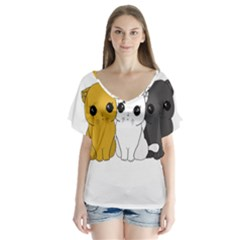 Cute Cats V Neck Flutter Sleeve Top